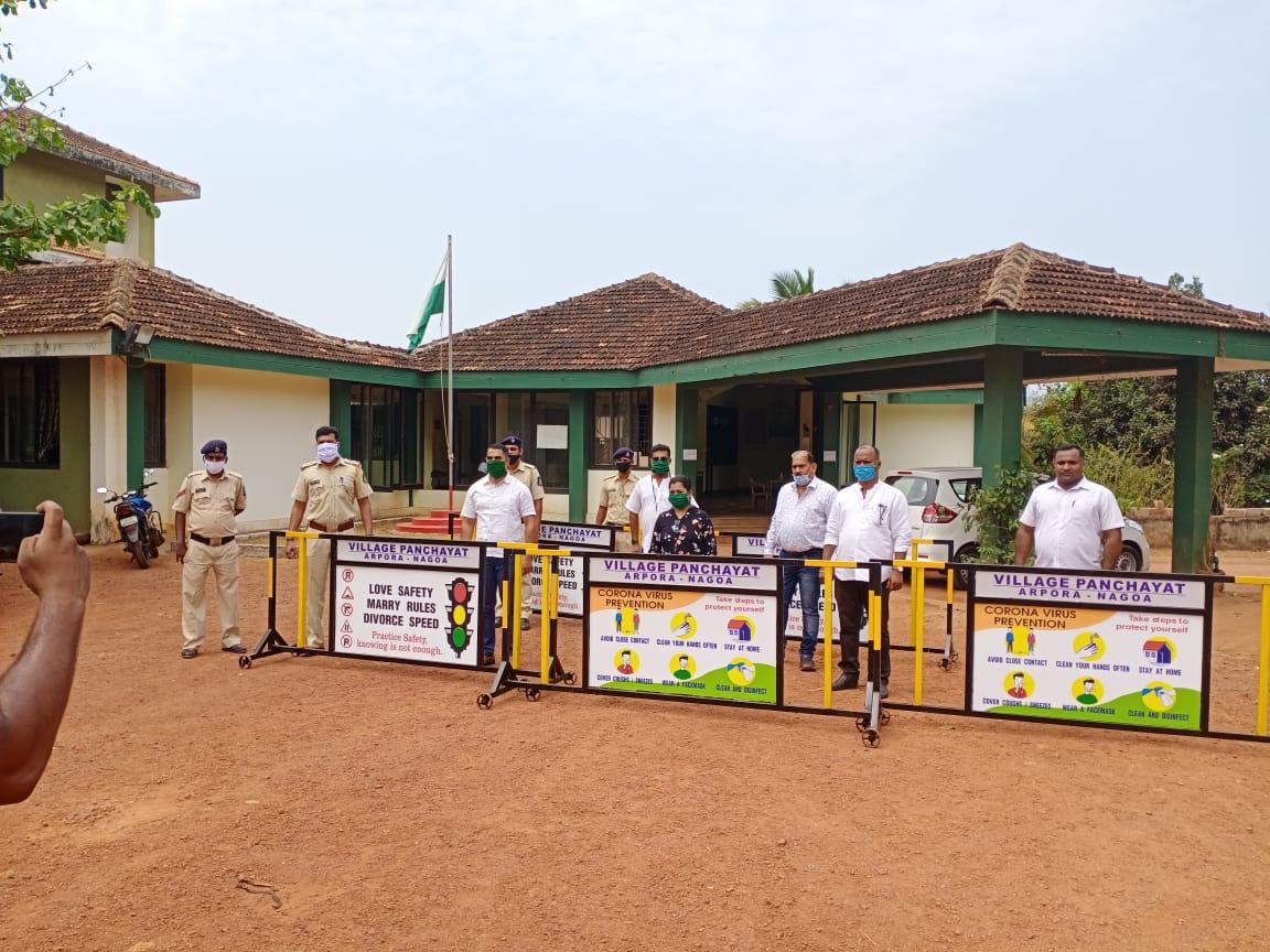 Arpora nagoa village panchayat donated 7nos metal barrigates.